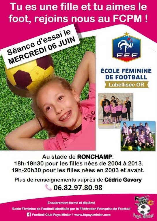SEANCES DE DECOUVERTE DU FOOTBALL FEMININ...